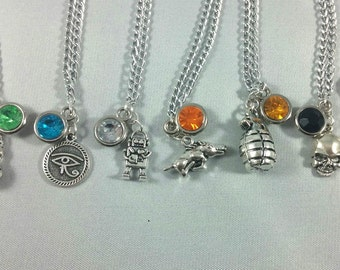 Overwatch Character Inspired Mini Jewel and Charm Necklaces - 7 Heroes - Lucio, Pharah, Bastion, Roadhog, Junkrat, Reaper, Widowmaker