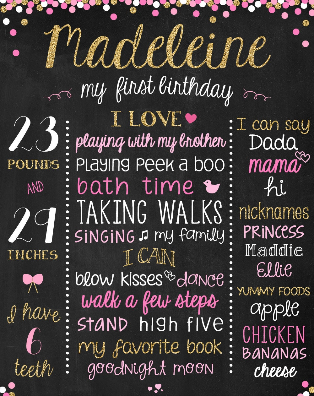 chalkboard birthday sign chalkboard first birthday poster. Black Bedroom Furniture Sets. Home Design Ideas