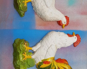Vintage Wall Hangings by Homco, Vintage Hen and Rooster, Mid Century Modern Wall Hanging, Vintage Rooster Wall Hanging, Mid Century Decor
