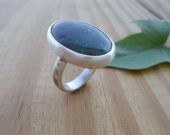 Chrysocolla sterling silver ring, statement ring, silversmith jewelry, artisan silver ring, chrysocolla jewelry, handmade silver ring