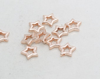 3 Pcs Rose Gold Star Pendant, Star Necklace, Geometric Necklace , Star Charms, Initial Pendant , glt , ROSE313