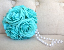 TURQUOISE Flower Girl Bouquet With Pearl Handle. Turquoise Pomander. Turquoise Bridesmaids Bouquet. Church Pew Decor. Shepard's Hook Decor.