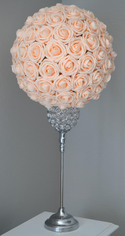 Peach blush kissing ball flower