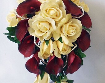 Red, burgundy, champagne, cascade / cascading bouquet, Real Touch flowers, roses, calla lilies, pearls, silk weding flowers, set