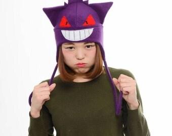 Gengar Fleece Hat - Gengar Earflap Hat - Gengar Anime Hat - Manga Hat - Cosplay Convention Hat - Purple Gengar hat - Anime Gengar Hat