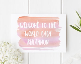 Personalised New Baby Card, New Baby Card, New Arrival Card, Welcome To The World Baby Girl, Congratulations New Baby Boy, Card For New Baby