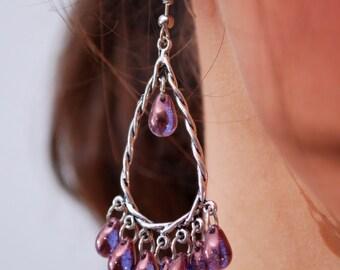 Purple Chandelier Earrings, Festival Jewellery, Gypsy earrings, Bohemian Hoops, Large boho Dangles