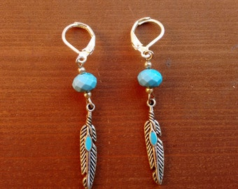 Gypsy Turquoise Feather Drop Earring