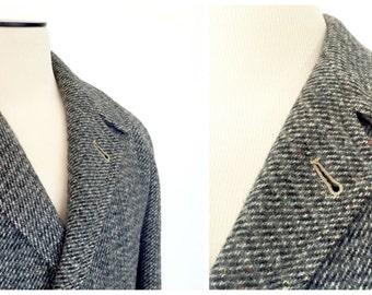 1950s Harris Tweed Coat / 1950s Overcoat / Tweed Overcoat / Overcoat / 1950s / Wool Tweed / Medium-Large