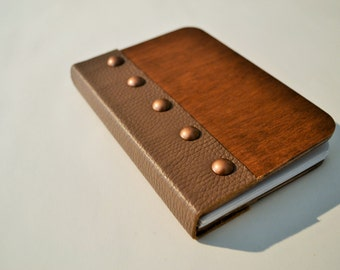 Wooden leather bound notebook  RECYCLED WOOD , sketchbook A6