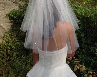Rhinestone Veil, Wedding Veil, Fly Away Veil with Scattered Rhinestones, Two Tier Veil, Weddings, Accessories, Veils