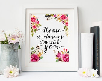 Home is wherever im with you, typography print, printable quote, home sweet home, housewarming gift, black and white print typographic print