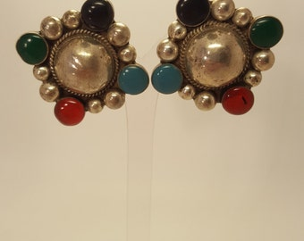 Vintage Mexican Sterling Silver Four Stone Clip on Earrings with Turquoise, Onyx & Carnelian