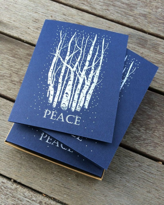 Christmas Card Set, Handmade Card Set, Birch Tree Card, Winter Greeting Card, Holiday Card Set, Blank Holiday Card, Set of Xmas Cards, Birch