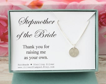 Stepmother of the bride gift, thank you gift for stepmom, silver initial necklace, personalized gift box, wedding gift, sterling silver