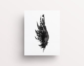 Angel Wing Print, Angel Wing Poster, Blank and White Prints, Sketched Wall Art, Printable Wings, Wing Print, Feather Print, Black Feather