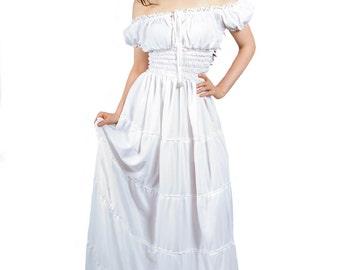 I-D-D Renaissance Peasant Wench Pirate Faire Women 's Gown Boho Hippie Sun Dress White  S/M