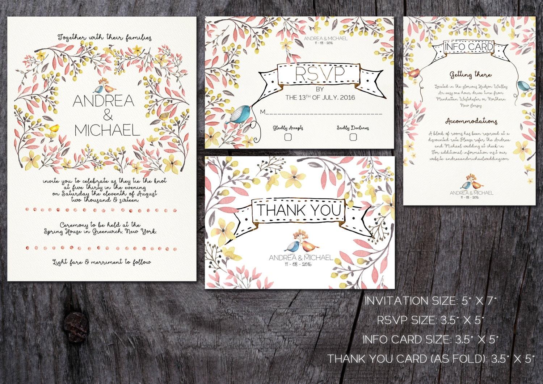 One Page Wedding Invitations: Whimsical Wedding Invitation Printable Wedding Invitation