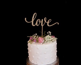 Love Wedding Cake Topper- Glitter Gold