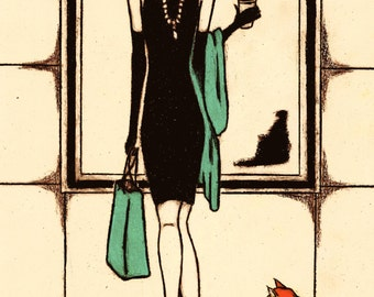 SHOPPING AT TIFFANY'S - Breakfast At Tiffany's Character Art Print - Audrey Hepburn, Fashion Illustration, Wall Art, Pop Art, Girly Gift