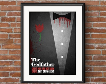 The Godfather Movie Poster with Quote, 20x30, 20x24, 16x20, 12x16, 11x14, 8x10 Retro Poster Digital Print & Signed