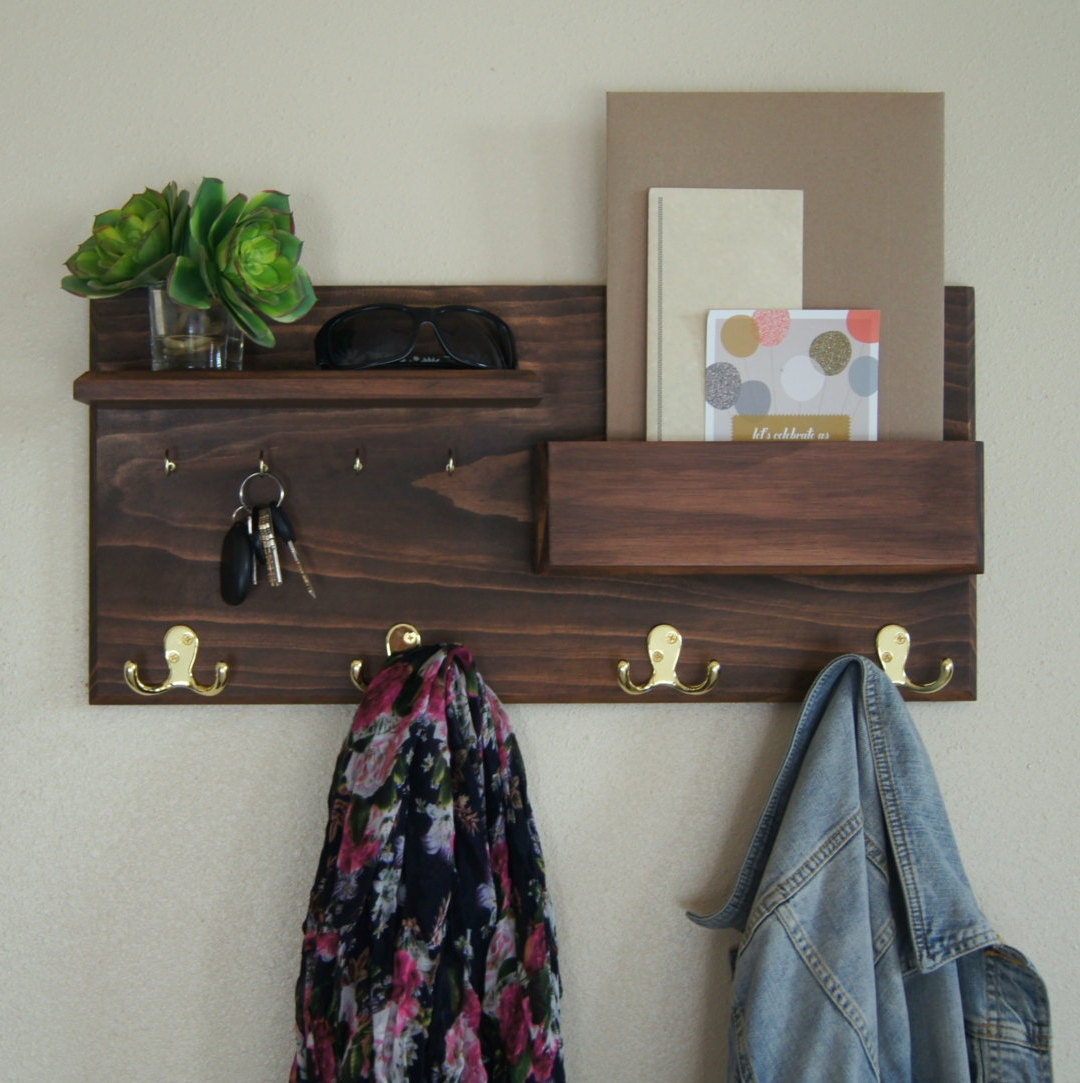 Entryway organizer wall mounted coat rack key hooks Wall mount entryway organizer mirror hallway coat rack key cabinet