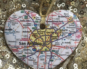 San Antonio Map Ornament