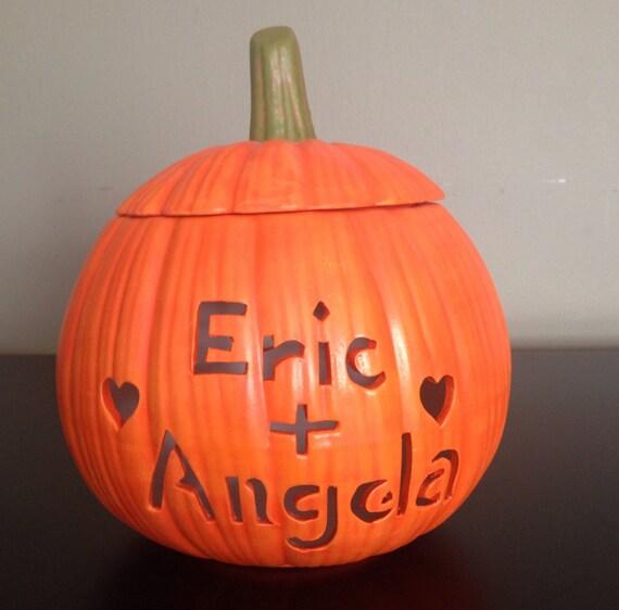 Bridal Shower Gift Basket Climbing On House Halloween: Personalized Ceramic Pumpkin Fall Wedding Gift Fall