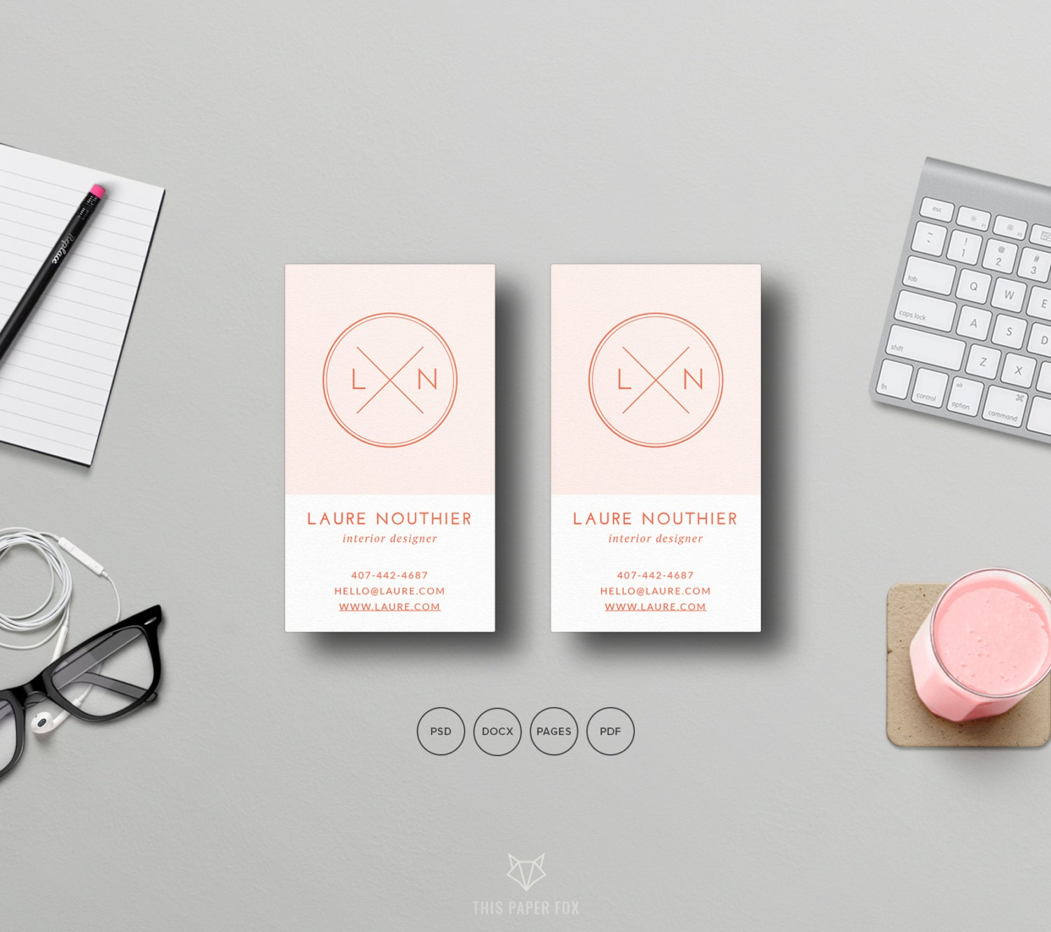 Hipster Business Card Template PSD Business Card Template