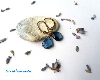 London Blue Topaz Earrings, 14K Gold Filled Jewelry, No Treatment London Blue Topaz Gemstone, December Birthstone Earrings, Bridal Earrings