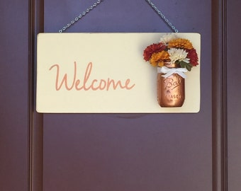 Welcome Sign with Mason Jar Vase - Welcome Mason Jar Sign - Flowers - Welcome Sign - Front Door Decor - Fall - Door Sign - Fall Wreath