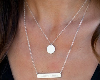 Initial Disc Necklace / Gold Disc Necklace /Personalized Disc Necklace/Initials/ Delicate/Dainty/ Bridesmaid Gift/Christmas Gift /N259