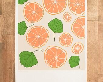 """Fruit Art Print, Kitchen Art, Fruit Drawing, Fruit Illustration, Leaf & Grapefruit art Print, Floral and Fruit pattern, """"Peach and Leaf"""""""