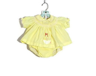 Vintage Easter Yellow 2 Piece Newborn Dress / Smocked Cloth Diaper Cover Baby Clothes