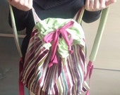 Handmade woman backpack - Rainbow colors, backpack purse - school backpack, everyday use shoulder bag - pink and green
