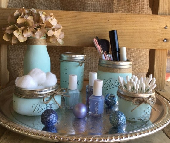 Cosmetic Set, Aqua Mason Jars, Vase, Shabby Chic, Rustic Decor, Distressed, Makeup Jars, Makeup Storage, Vanity Set, Bathroom Organization