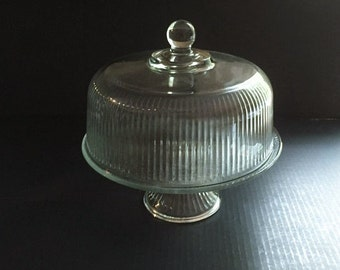 Ribbed Glass Dome Cake Stand, Clear Glass Footed Cake Stand with Lid, Clear Ribbed Glass Pedestal Cake Stand with Lid Convert to Punch Bowl