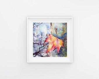 5x5 Leaf Print of Original Little Leaf 2 Fine Art Watercolor Painting, Home Decor, Wall Art, Gift Ideas