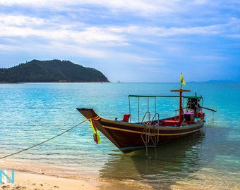Asian Wall Decor, Asian Art, Beach Photography, Seascape Art, Boat Docor, Digital Seascape - Koh Phangang Seaview