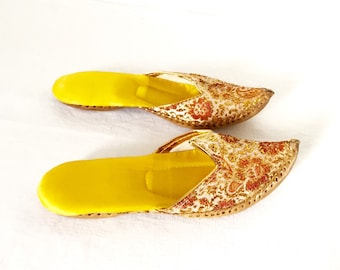 Vtg 70s Moroccan Slipper Shoes Top Pointed Toe Leather Sole