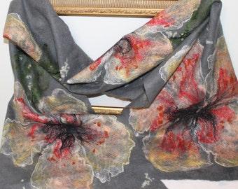 Handmade grey - nuno felt scarf / wrap