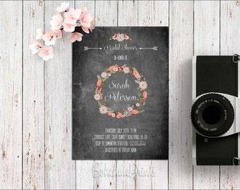 Black Bridal Shower Invitation Printable Boho Bridal Shower Invites Chalkboard Invitations Rustic Bridal Shower Invite Fall Bridal Shower