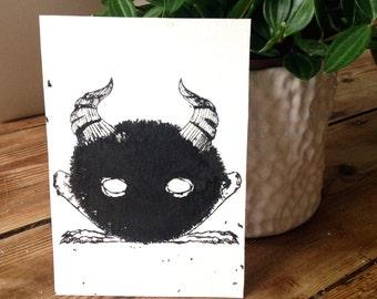 ORIGINAL Ink-resist Gloomy horned creature, spirit, postcard