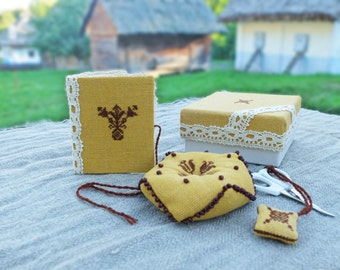Ethnic Needlework Set.Embroidery biscornu.Pin Cushion. Needle Case. Ukrainian embroidery.Pincushion.Embroidered needle book.Mothers Day Gift
