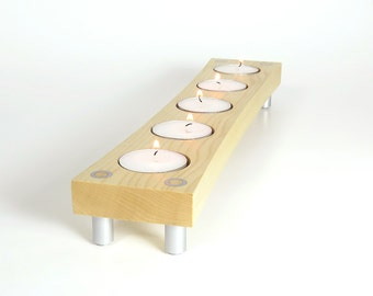Modern Tea Light Holder, Candle Holder, Tealight Stand,  Candle, Gifts, Wood and Metal, Coffee Table, Bath Candles, Bathroom, Decoration,