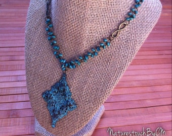 Rustic Turquoise Necklace,statement necklace,Blue necklace,  free spirit, bestfriend gifts, birthday gifts, gifts under 20.