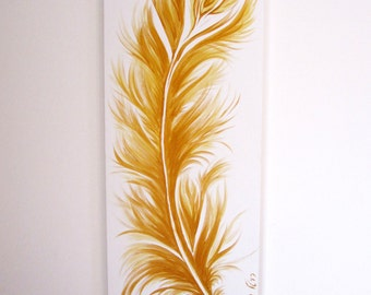 """Original acrylic painting, 20""""X 50"""", Gold Feather, Metallic, Wall art, OOAK, Unique hand painted, Gift, Home decor, For office, home, Signed"""