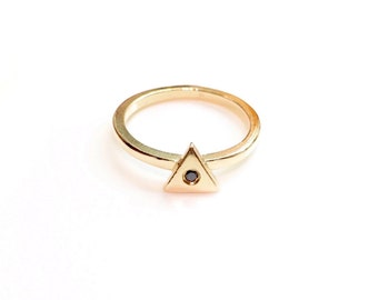 14K Gold Triangle Midi Ring with a Black Diamond, diamond triangle knuckle ring, gold midi ring, gold knuckle ring, diamond knuckle ring
