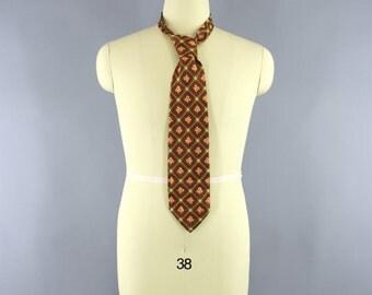 Vintage 1960s Mens Tie / Vintage 1960s Silk Necktie / 60s Men's Silk Neck Tie Cravat / Vintage Menswear / Orange Brown Gold