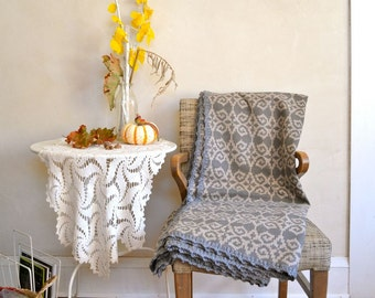 Large Cozy Wool Throw in Shades of Grey Ram's Head Design in Neutrals w/ Crocheted Edge